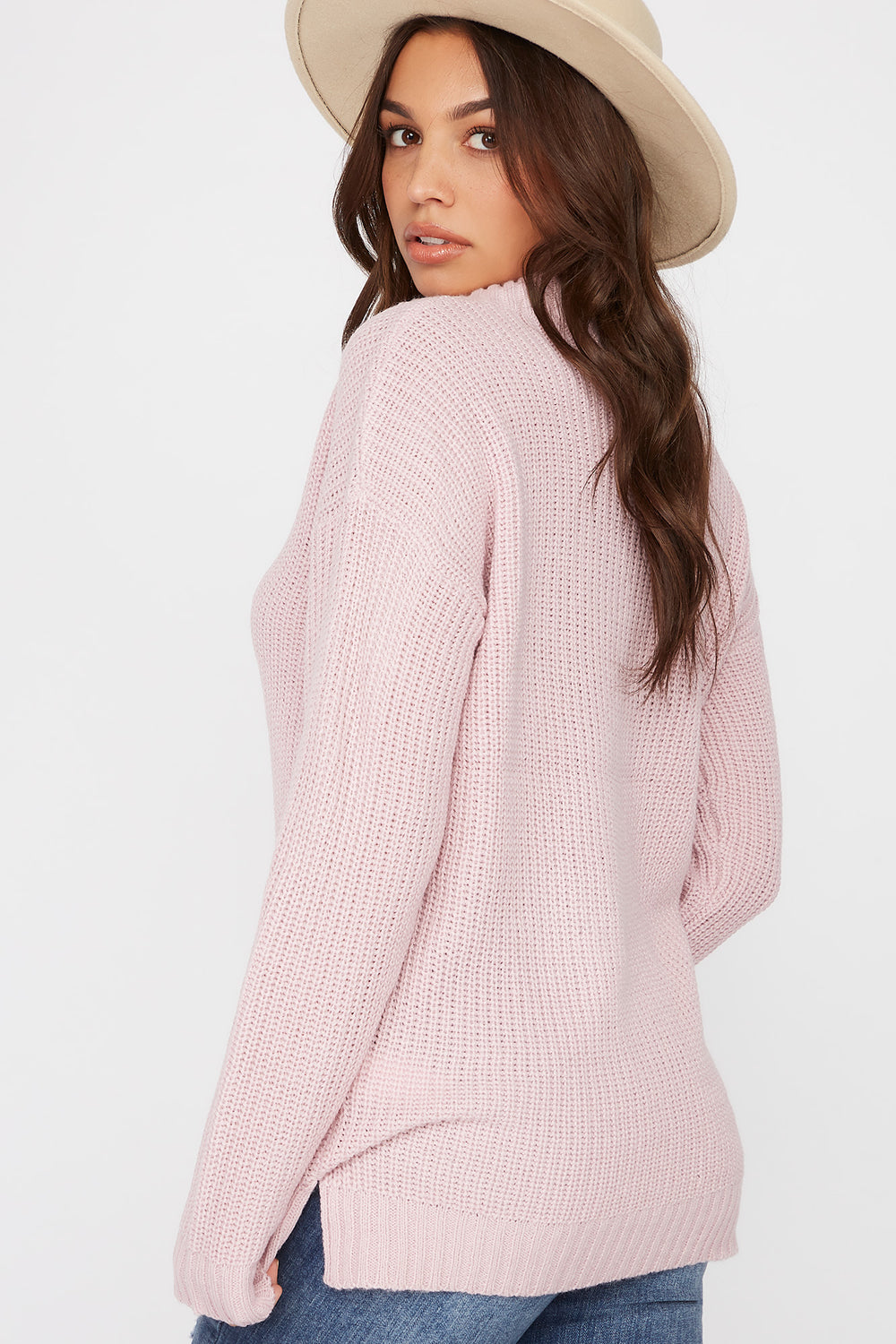 V-Neck Tunic Sweater Light Pink