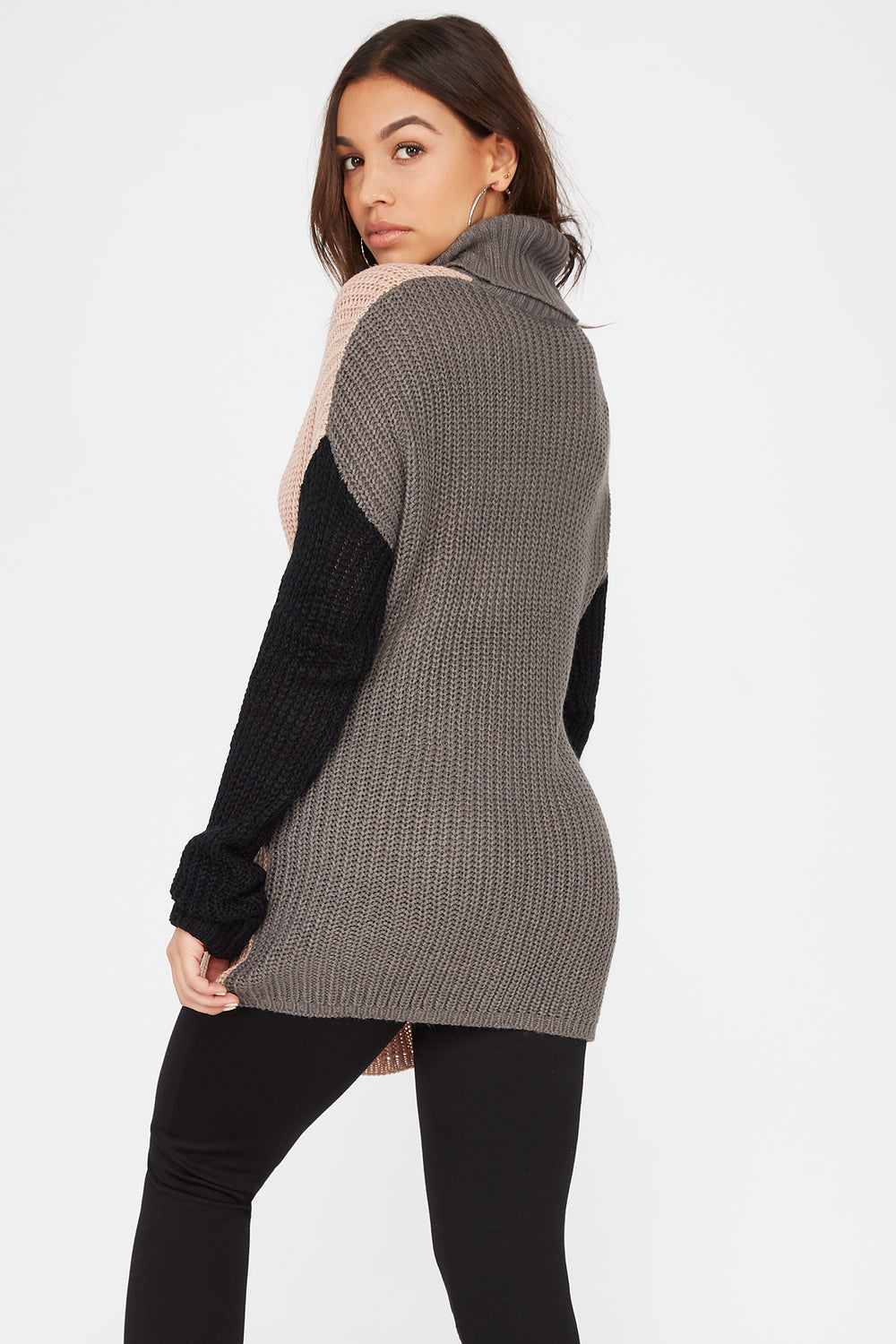 Colour Block Knit Turtleneck Sweater Multi