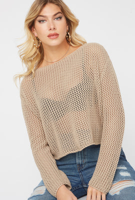 Cropped Crochet Knit Sweater