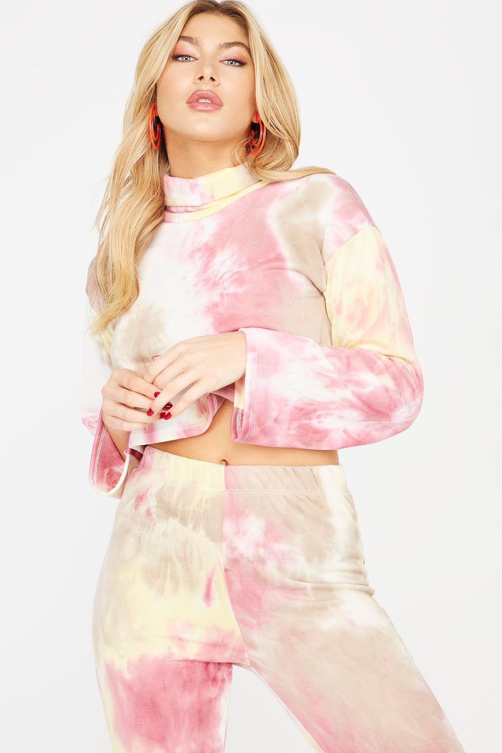 Tie-Dye Mock Neck Long Sleeve Cropped Top Tan