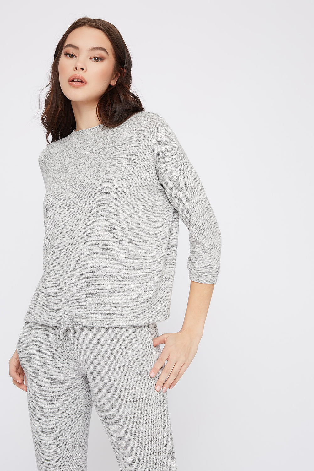Soft Space Dye Drawstring Sweater Heather Grey