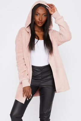 Hooded Sherpa Cardigan
