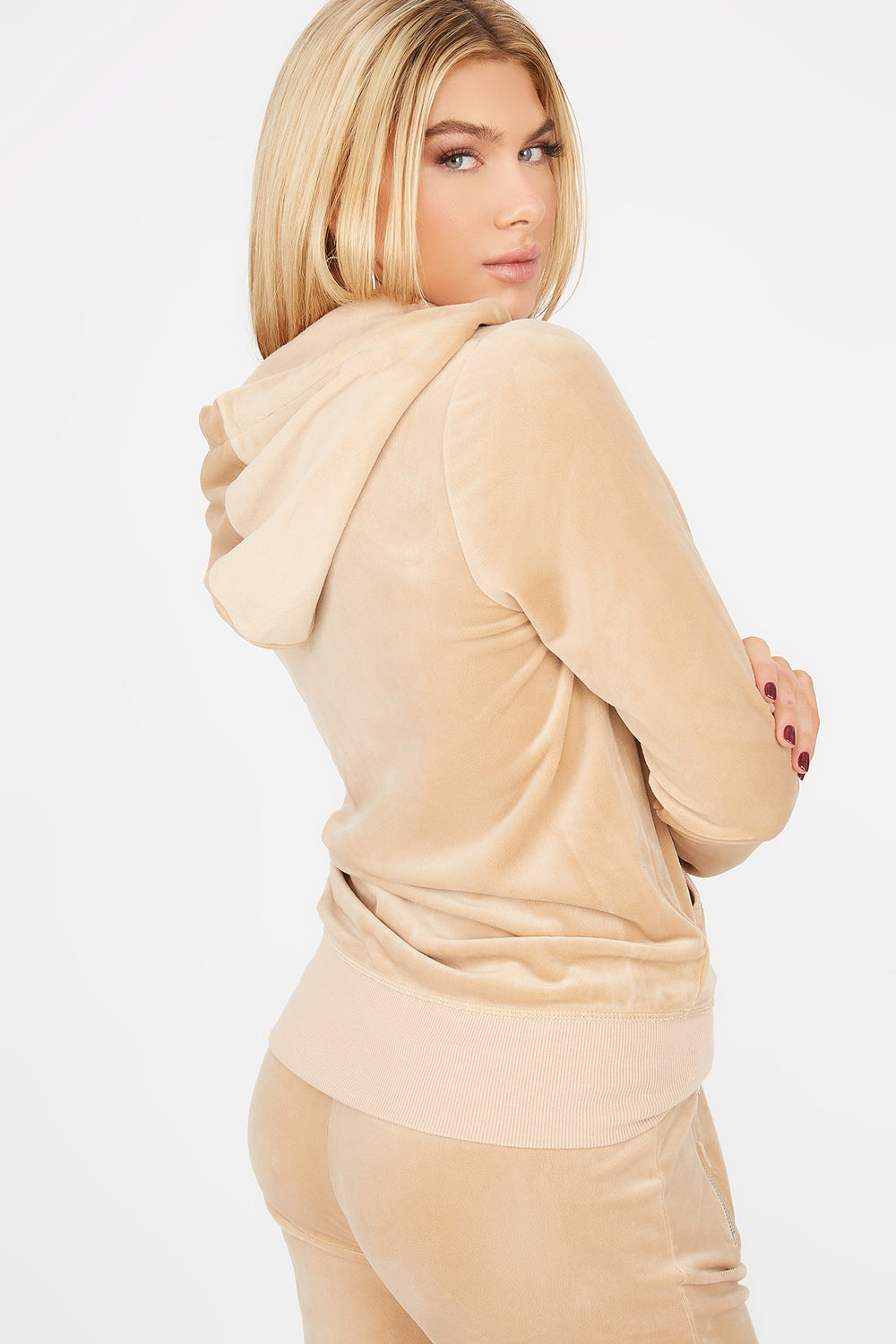 Soft Velvet Zip-Up Pocket Hoodie Natural
