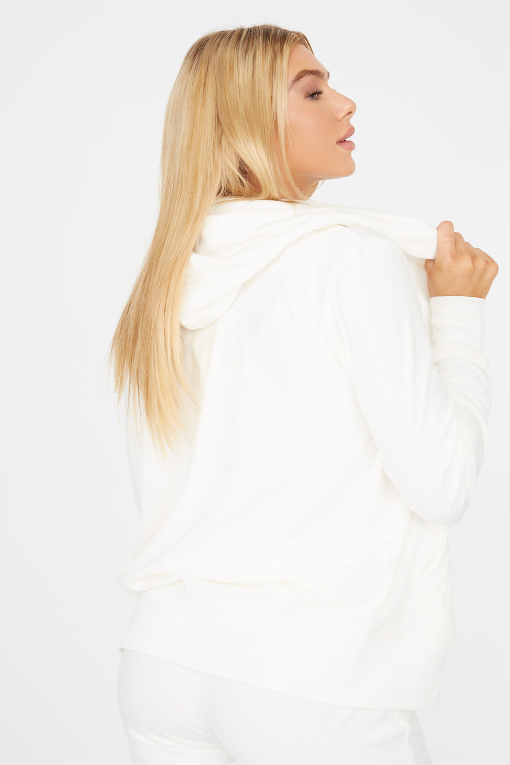 Soft Velvet Zip-Up Pocket Hoodie Ivory