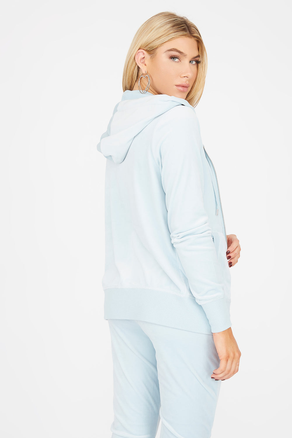 Soft Velvet Zip-Up Pocket Hoodie Light Blue