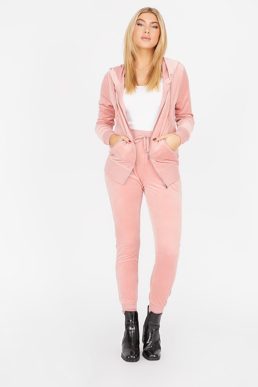 Soft Velvet Zip-Up Pocket Hoodie Dusty Rose