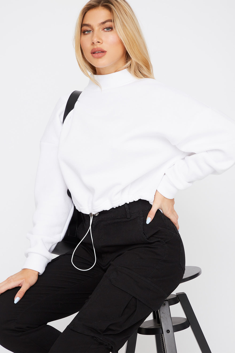 Mock Neck Drawstring Sweater White