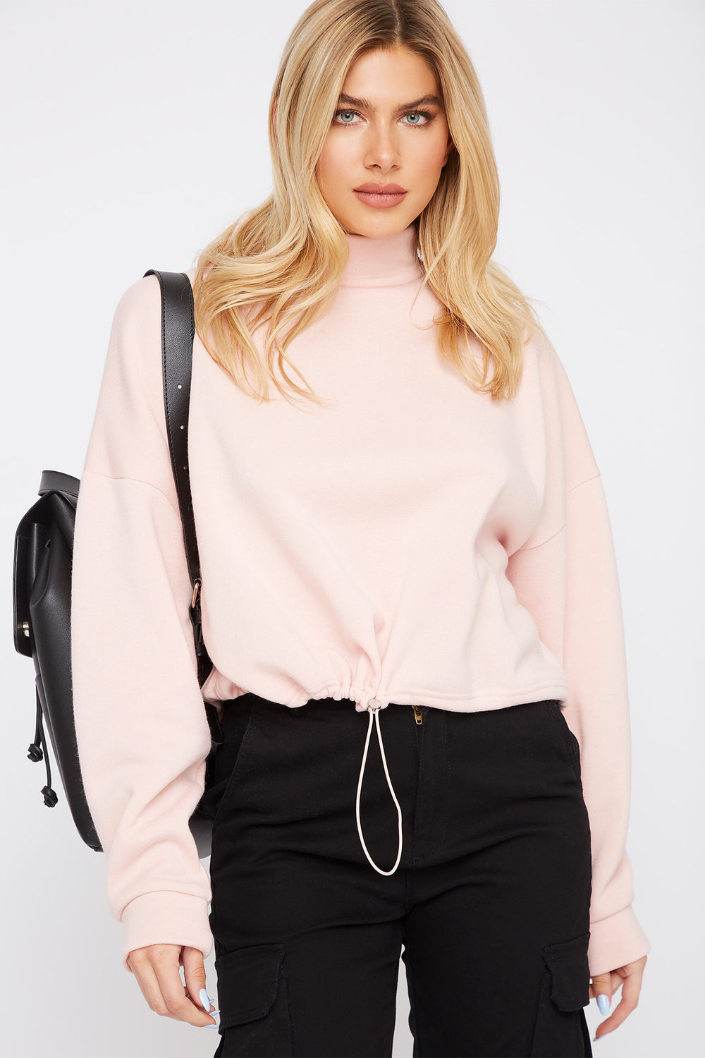 Mock Neck Drawstring Sweater Dusty Rose