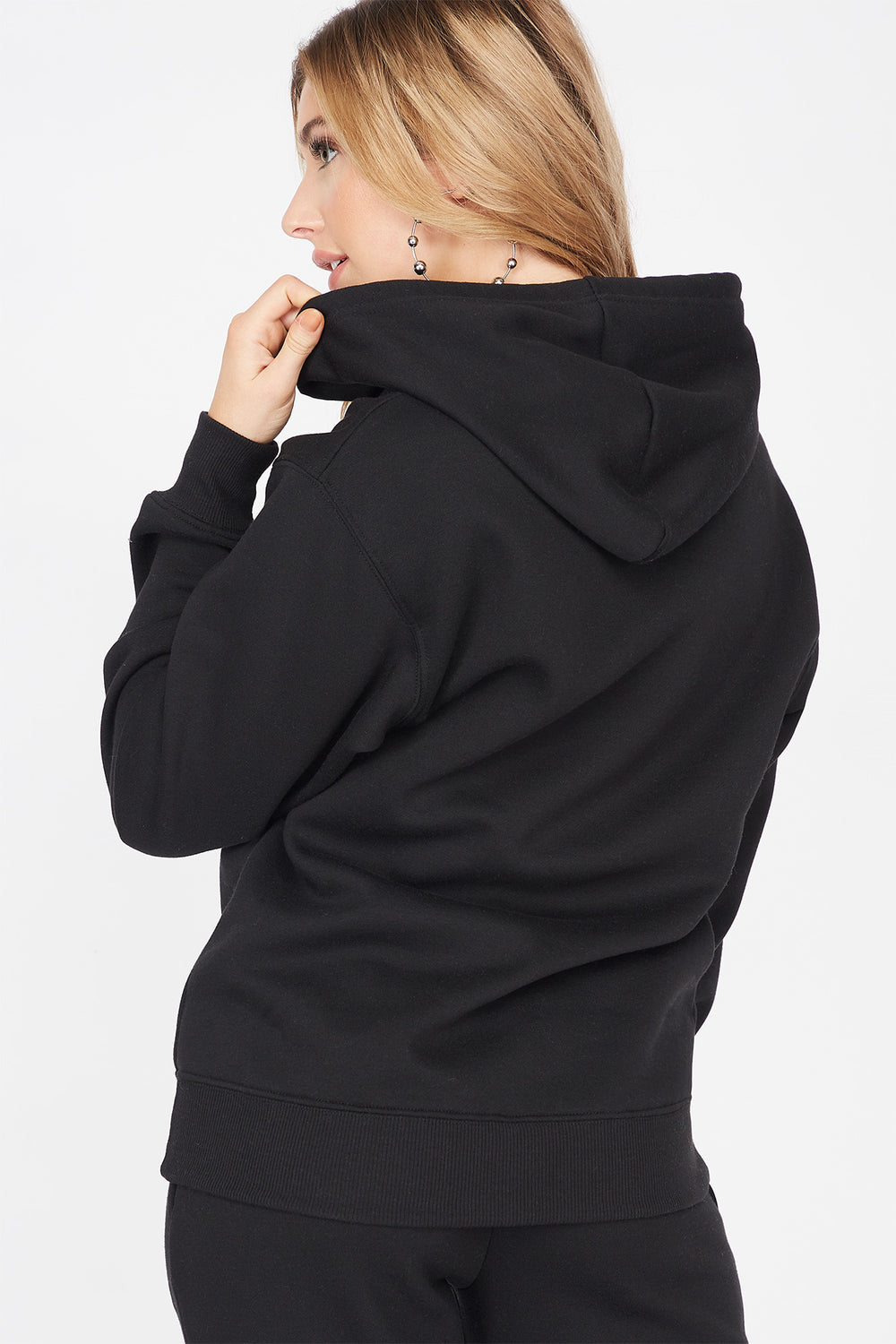 Basic Fleece Popover Hoodie Black