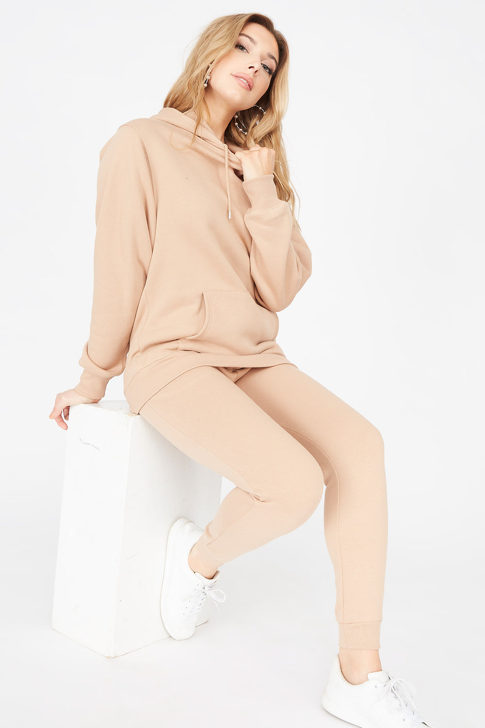 Basic Fleece Popover Hoodie Natural