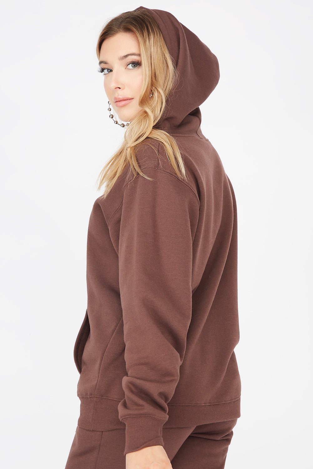 Basic Fleece Popover Hoodie Brown