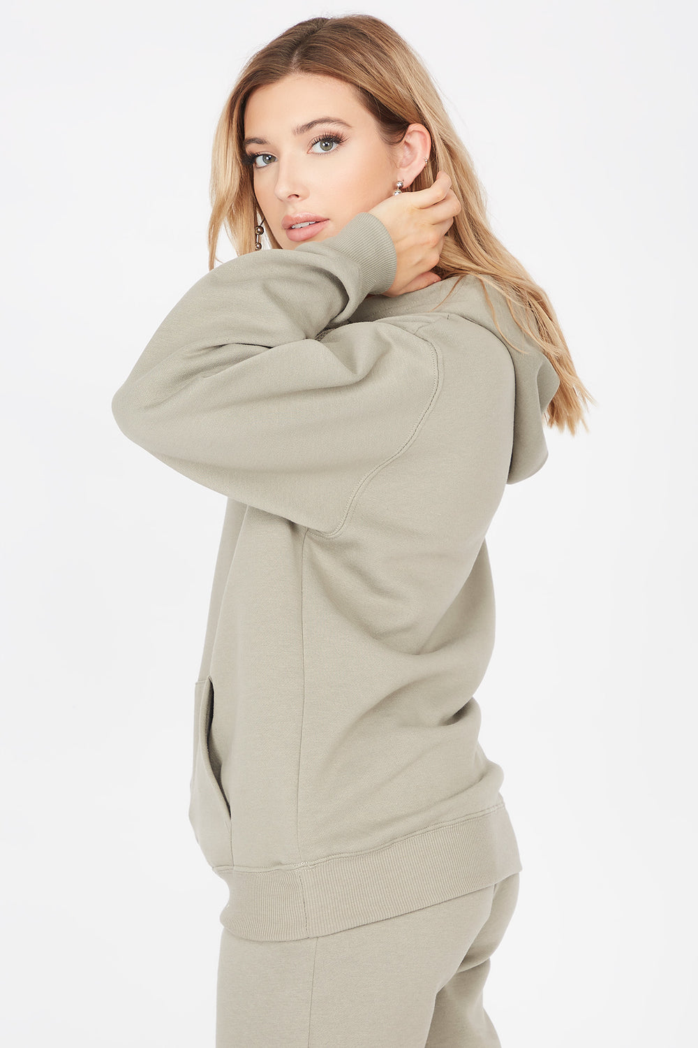 Basic Fleece Popover Hoodie Dark Green