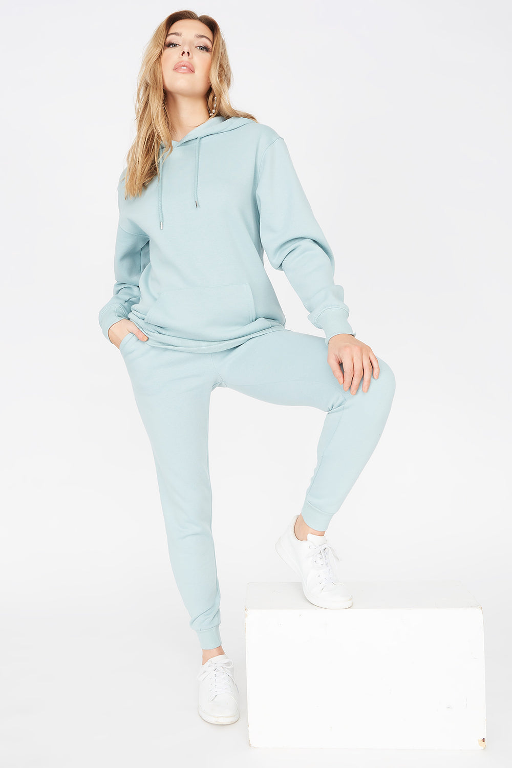 Basic Fleece Popover Hoodie Light Blue