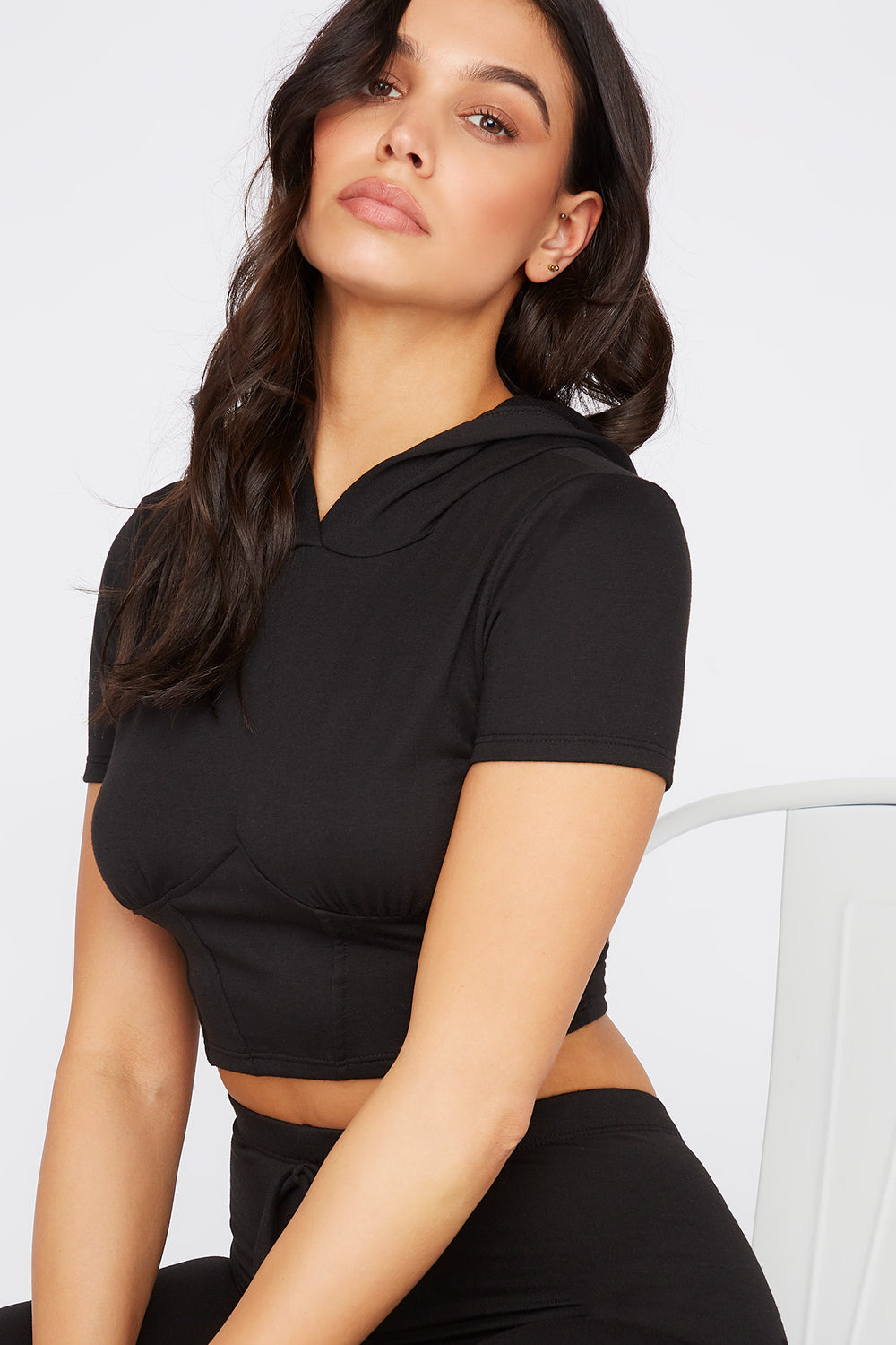 Cropped Hooded Corset T-Shirt Black