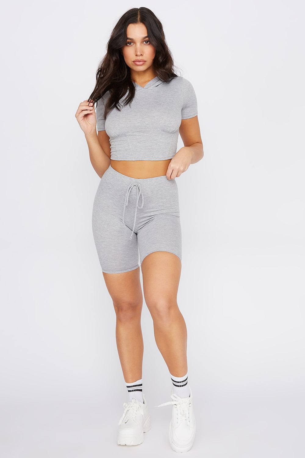 Cropped Hooded Corset T-Shirt Heather Grey