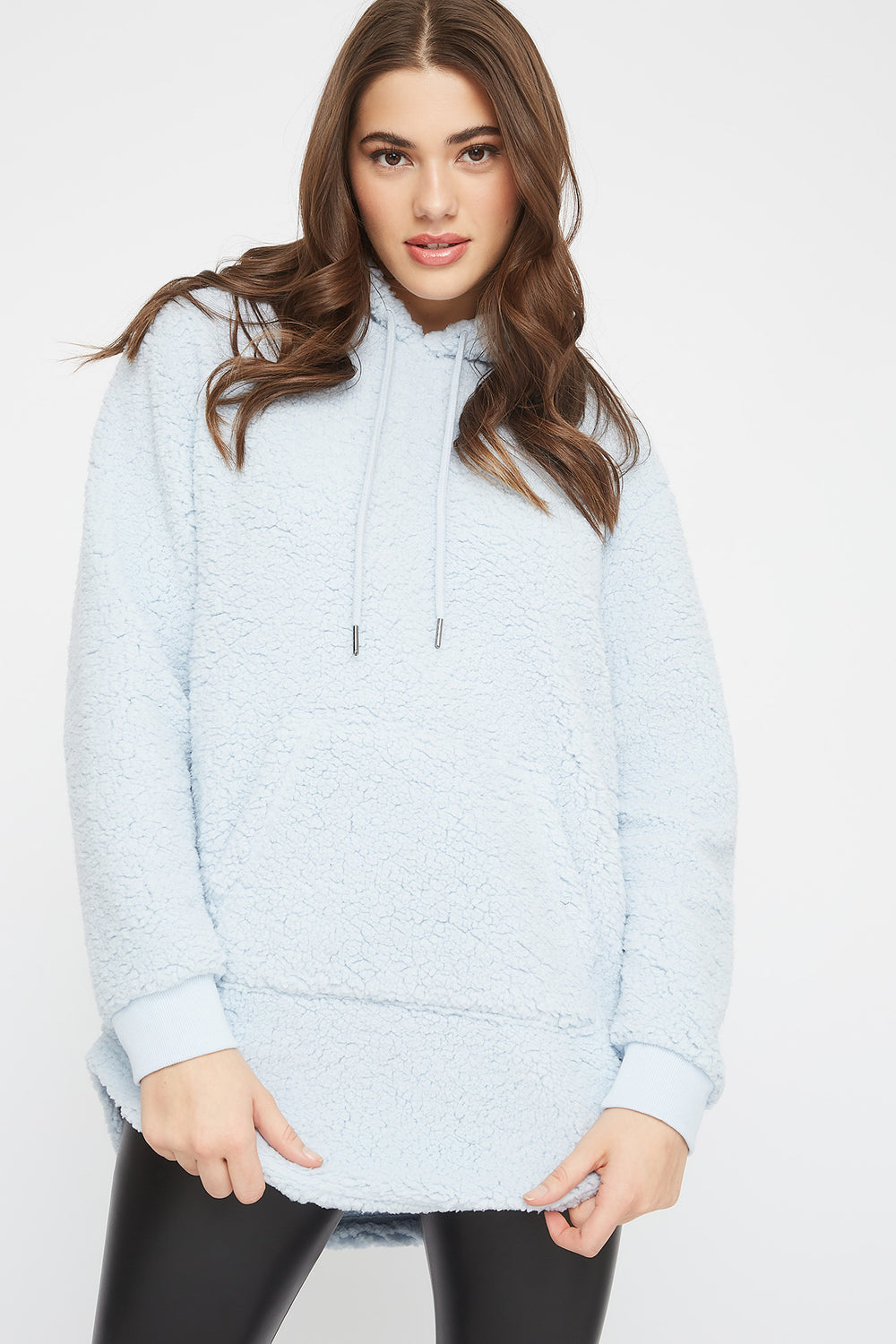 Oversized Sherpa Hoodie Light Blue