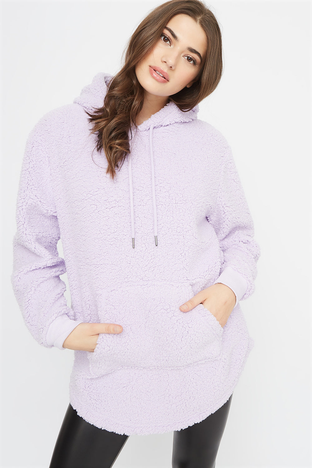 Oversized Sherpa Hoodie Lilac