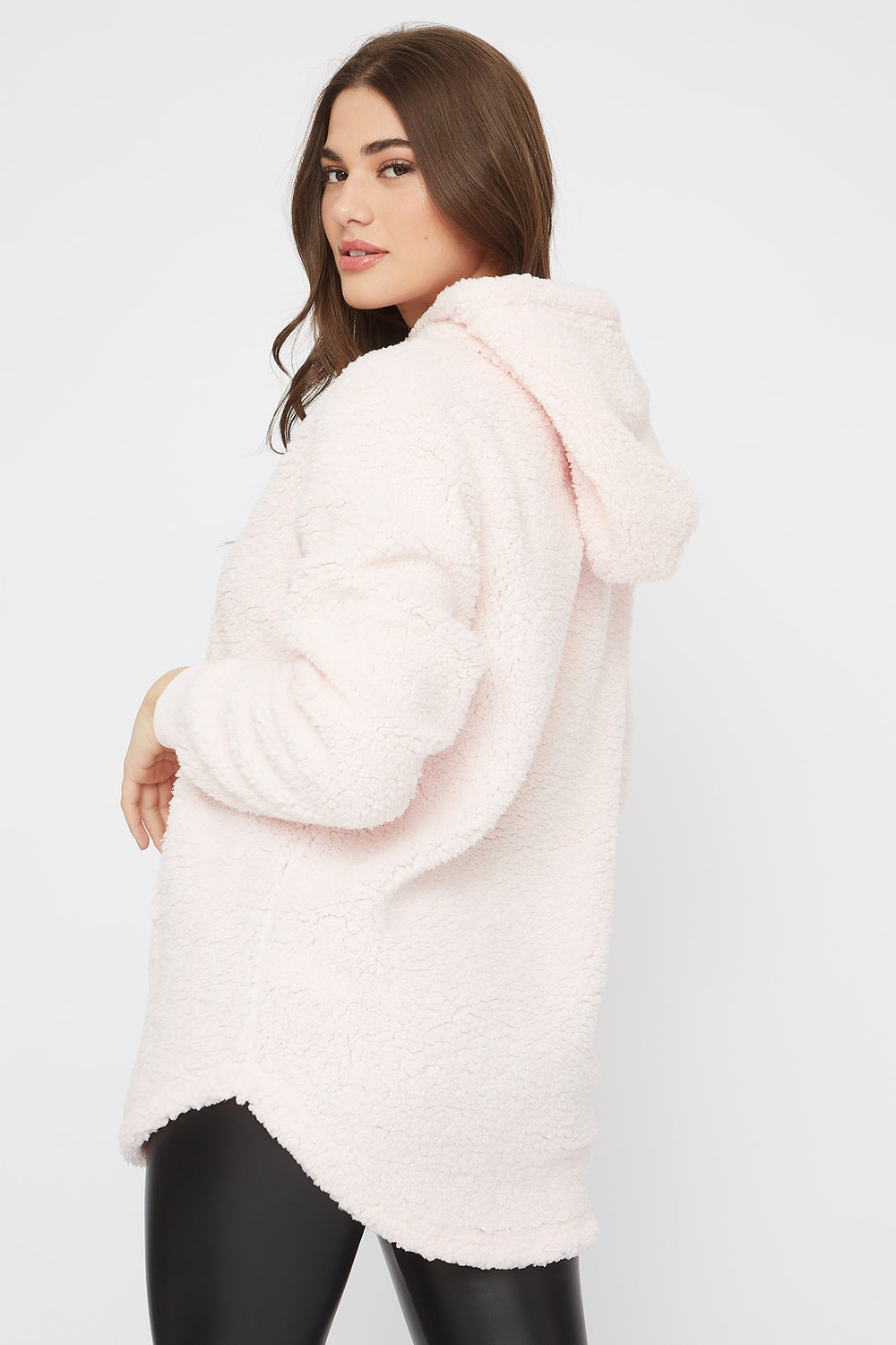 Oversized Sherpa Hoodie Dusty Rose