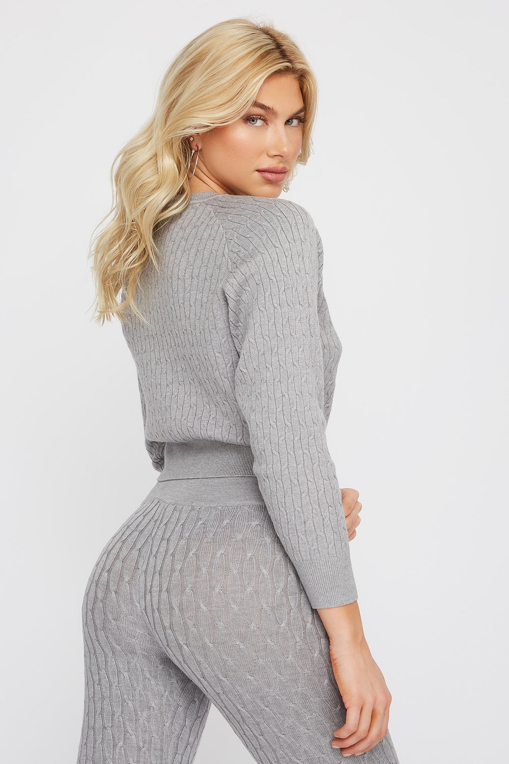 Cable Knit Crew Neck Long Sleeve Sweater Heather Grey