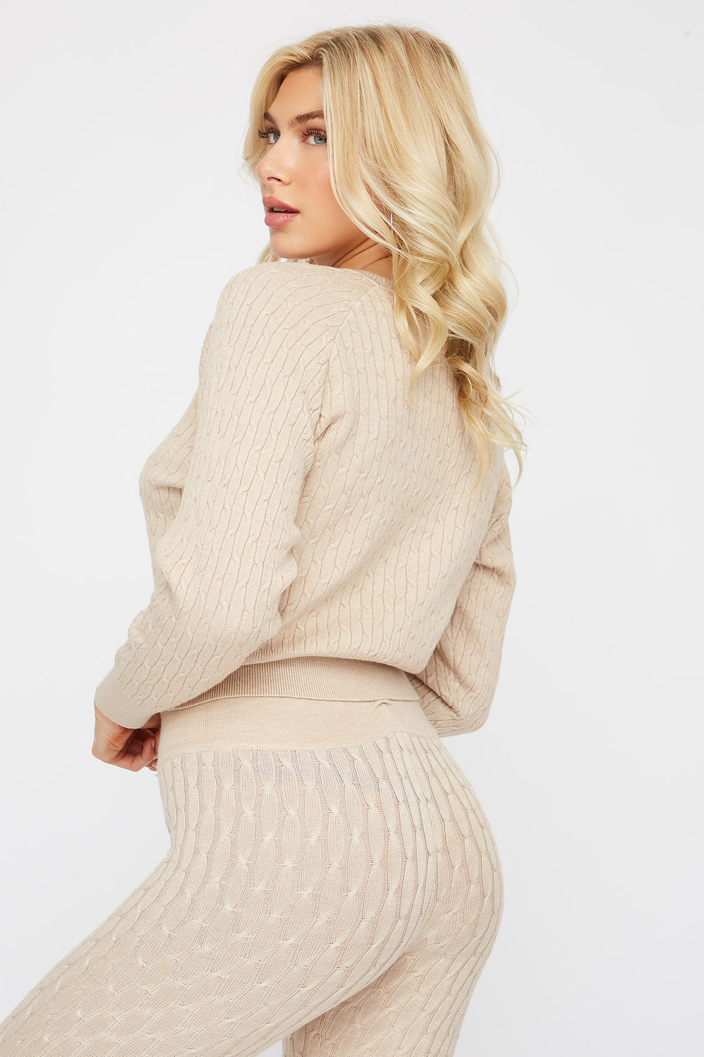 Cable Knit Crew Neck Long Sleeve Sweater Beige