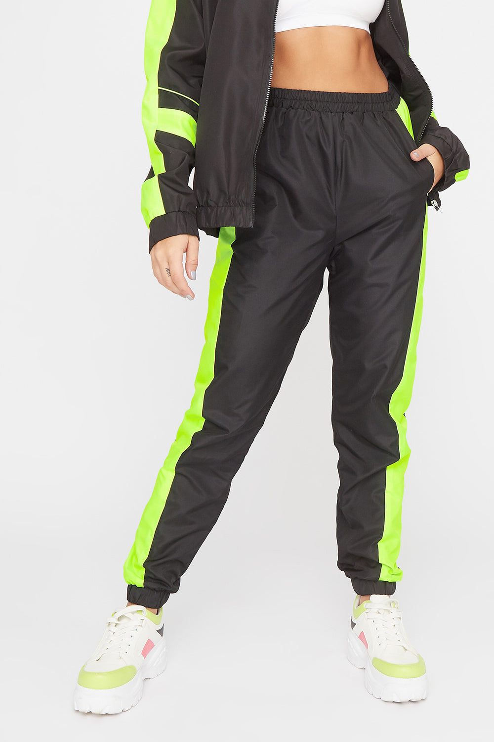 Colour Block Windbreaker Jogger Neon Yellow
