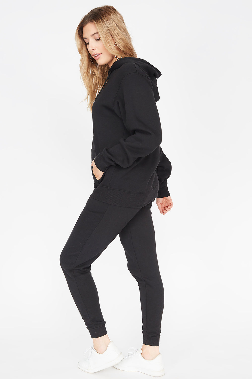 Basic Fleece Drawstring Jogger Black