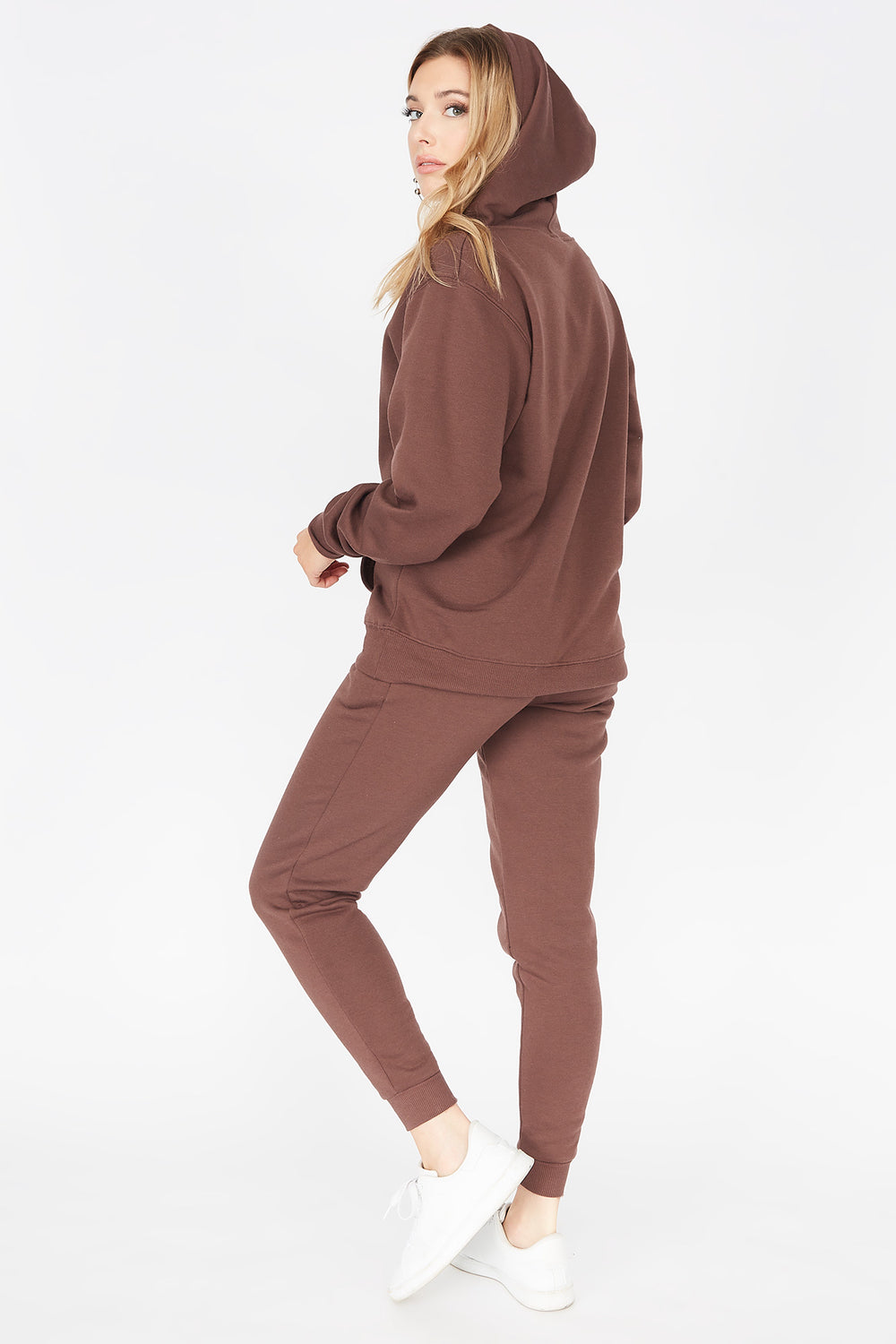 Basic Fleece Drawstring Jogger Brown
