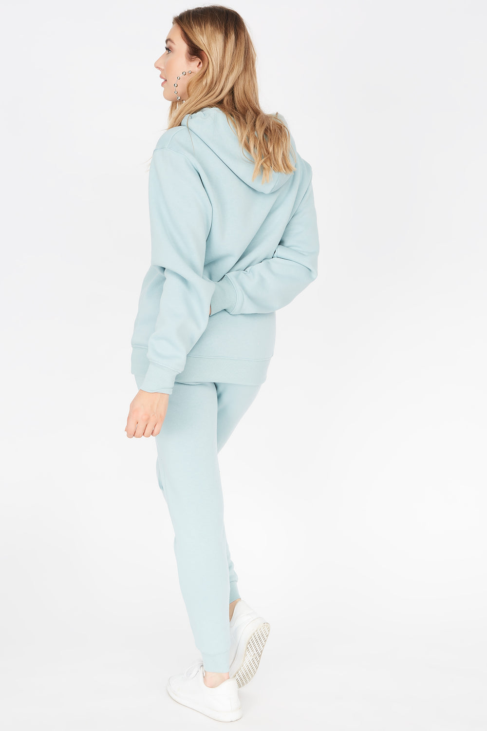 Basic Fleece Drawstring Jogger Light Blue