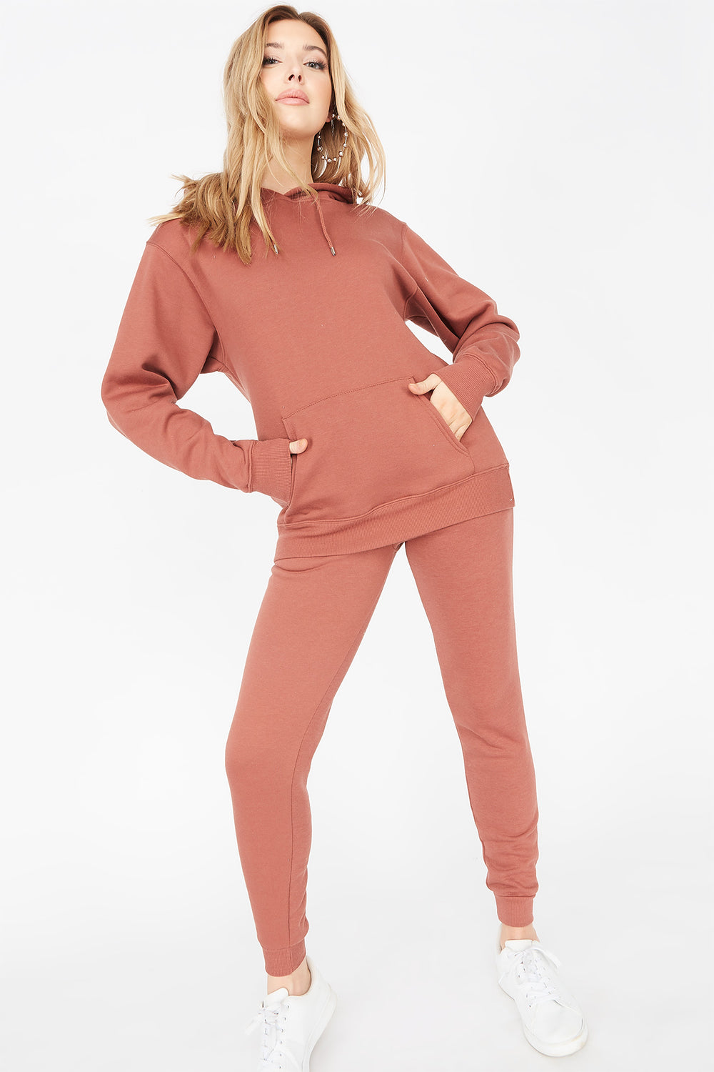 Basic Fleece Drawstring Jogger Rust