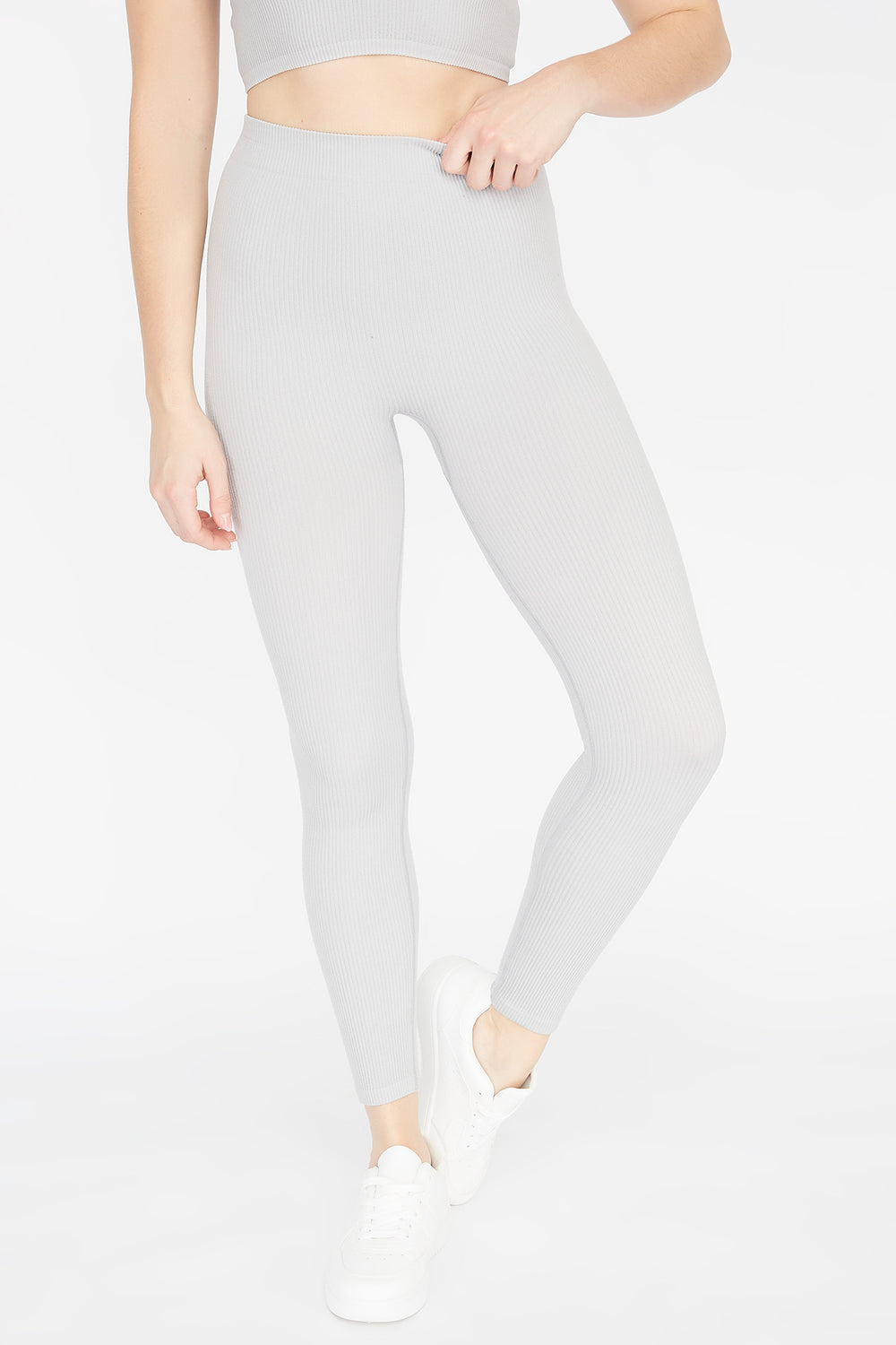 Ribbed Pull-On Legging Heather Grey