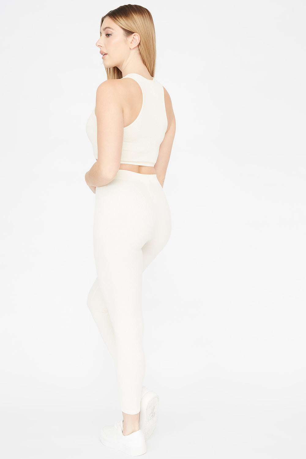 Ribbed Pull-On Legging White
