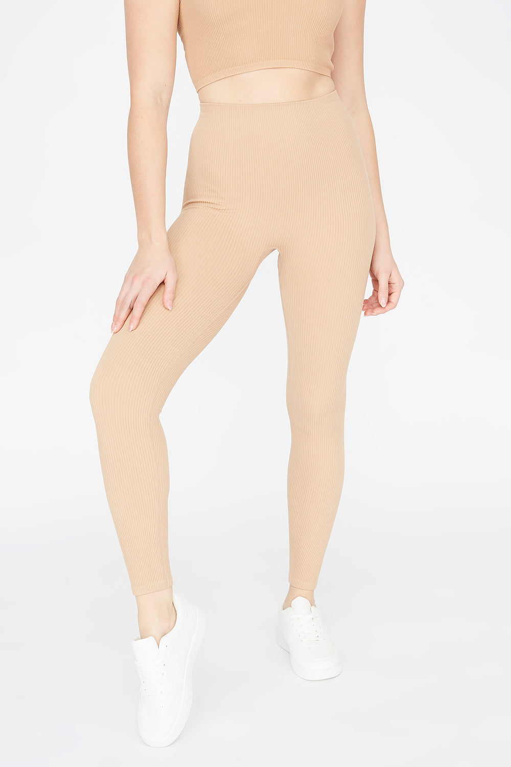 Ribbed Pull-On Legging Camel