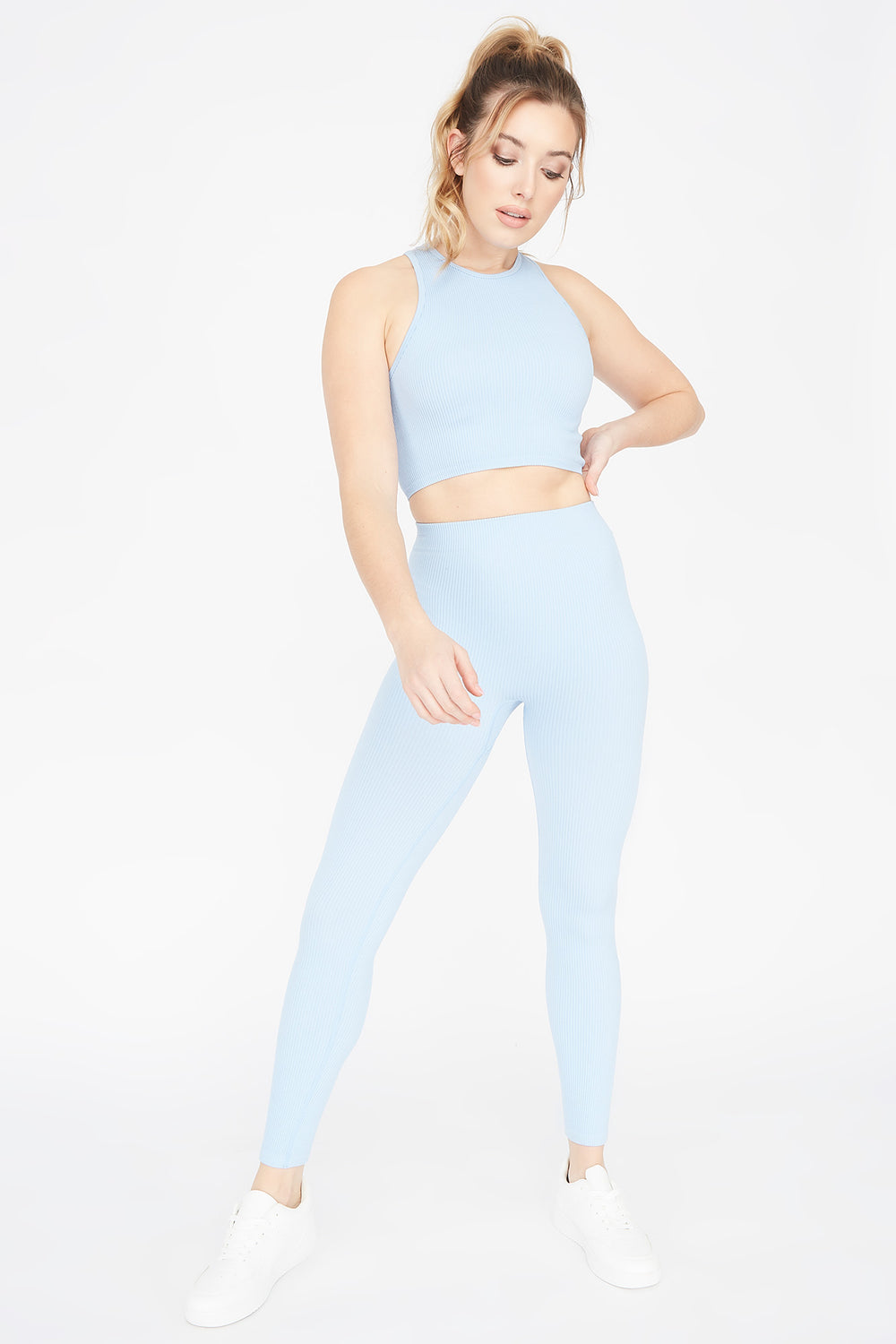 Ribbed Pull-On Legging Light Blue