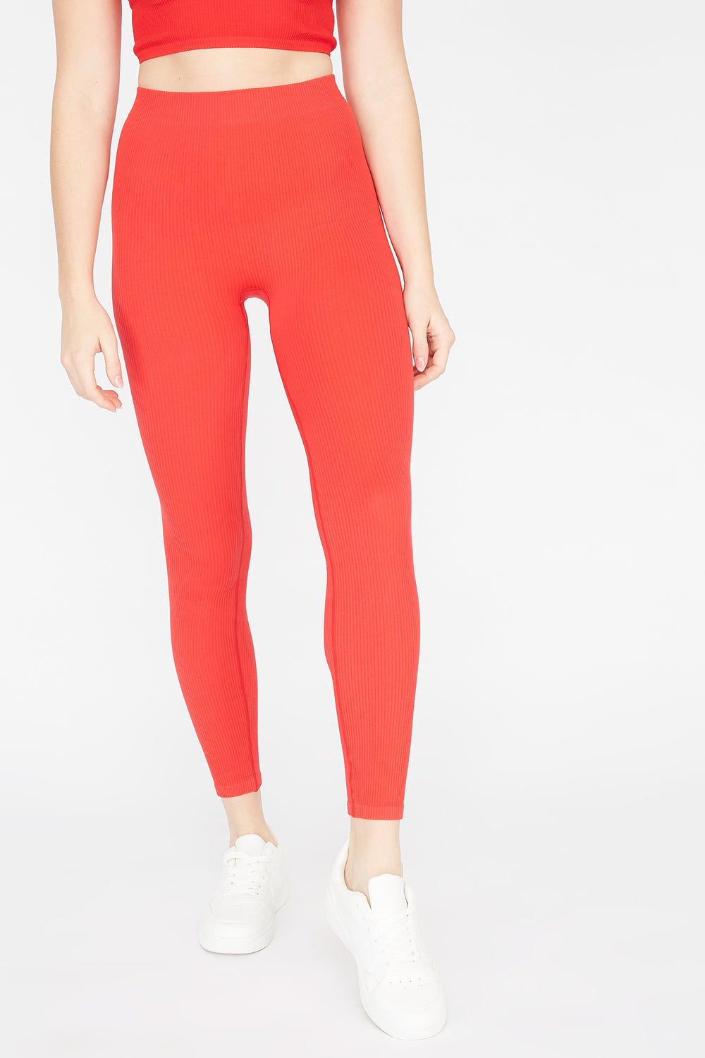 Ribbed Pull-On Legging Red
