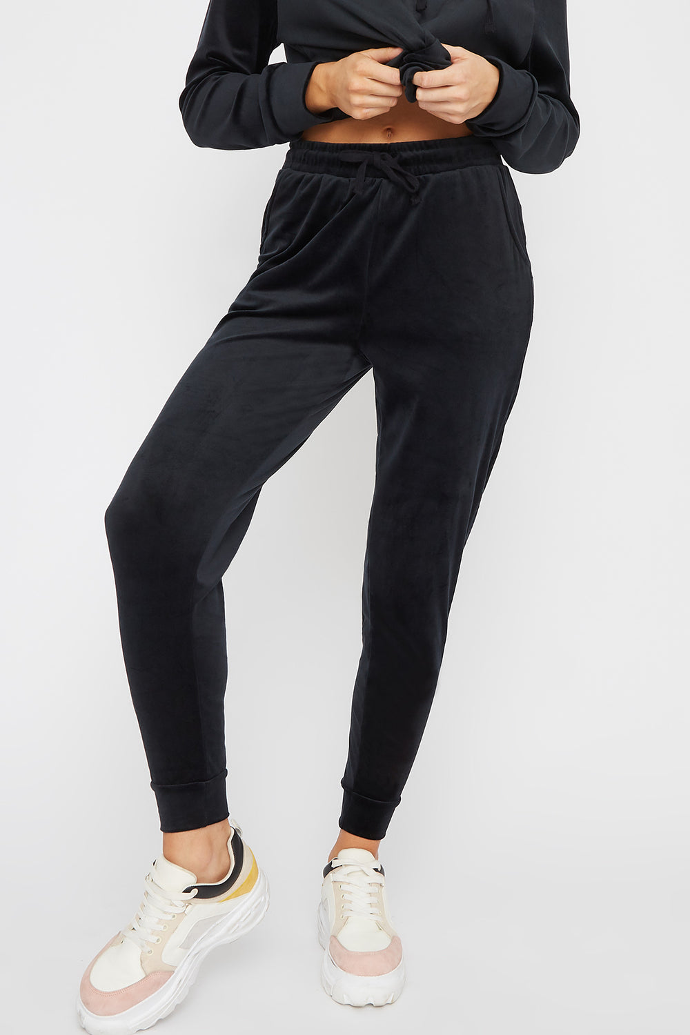 Super Soft Velvet Drawstring Jogger Black