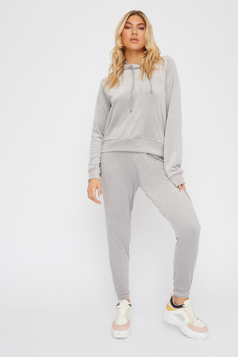 Super Soft Velvet Drawstring Jogger Heather Grey