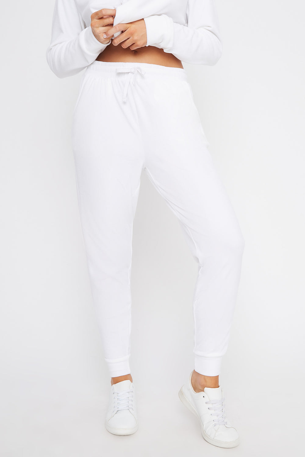 Super Soft Velvet Drawstring Jogger White