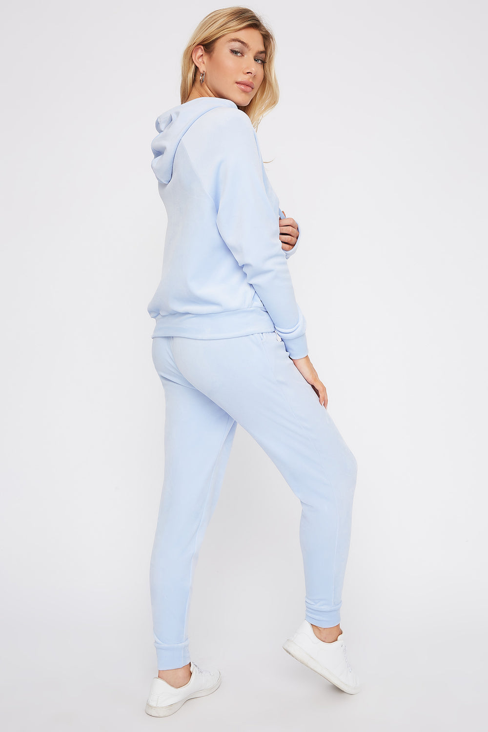 Super Soft Velvet Drawstring Jogger Light Blue
