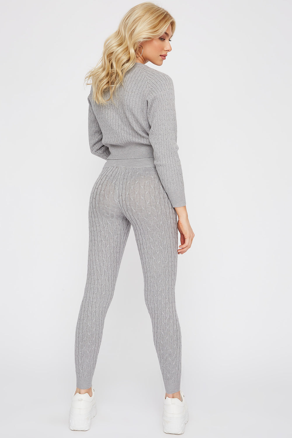 High-Rise Cable Knit Legging Heather Grey