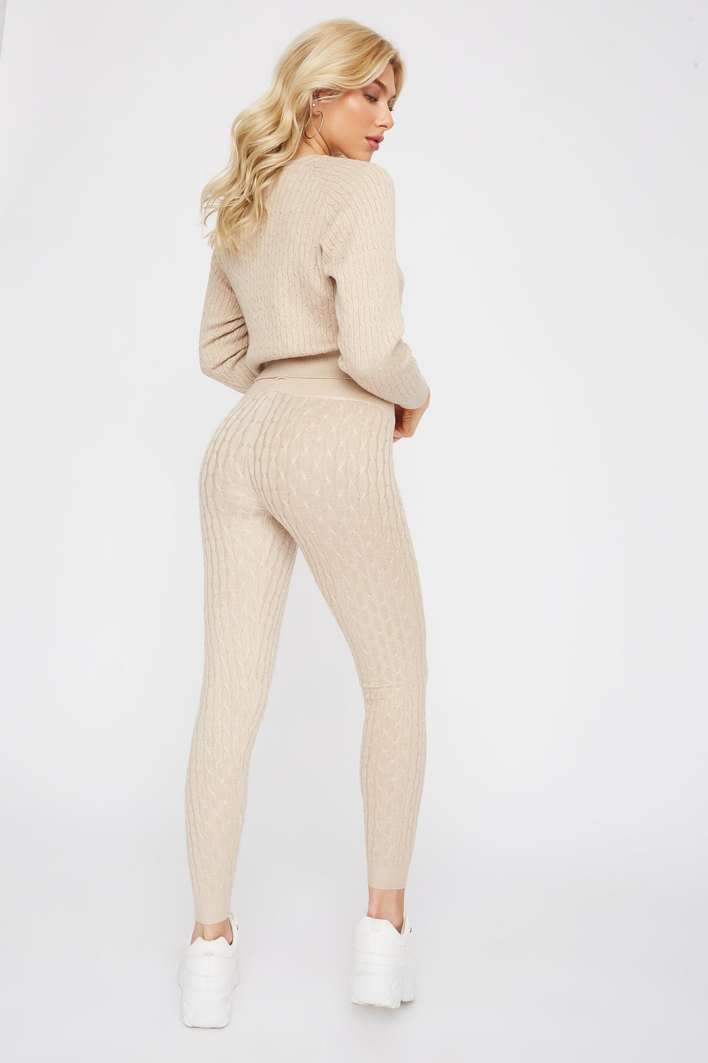 High-Rise Cable Knit Legging Beige