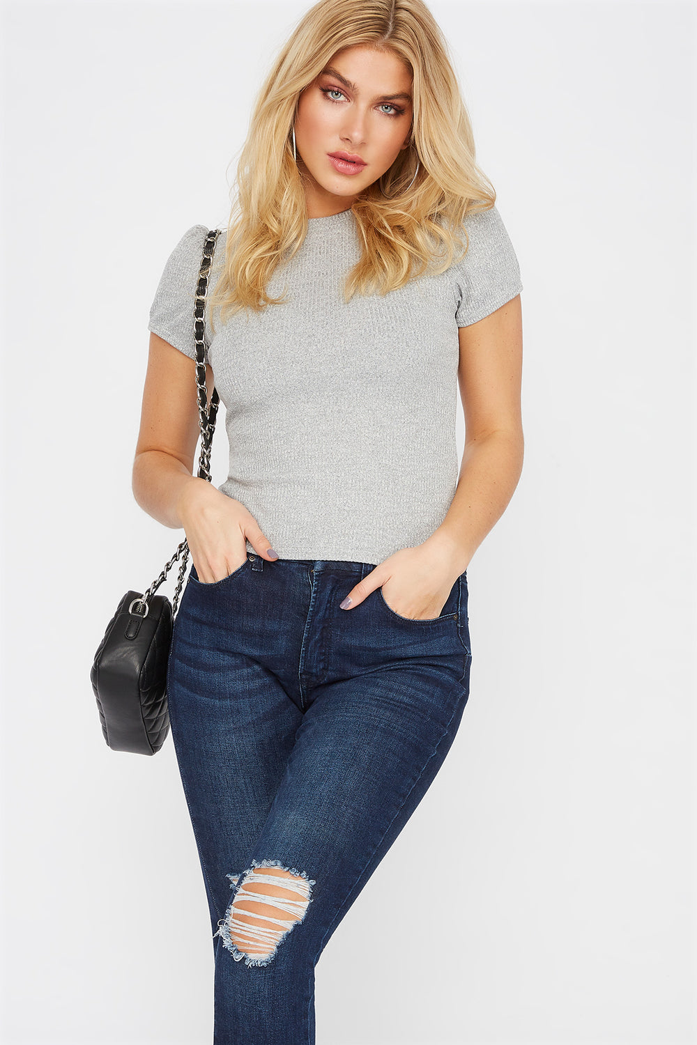 Ribbed Puff Sleeve T-Shirt Heather Grey