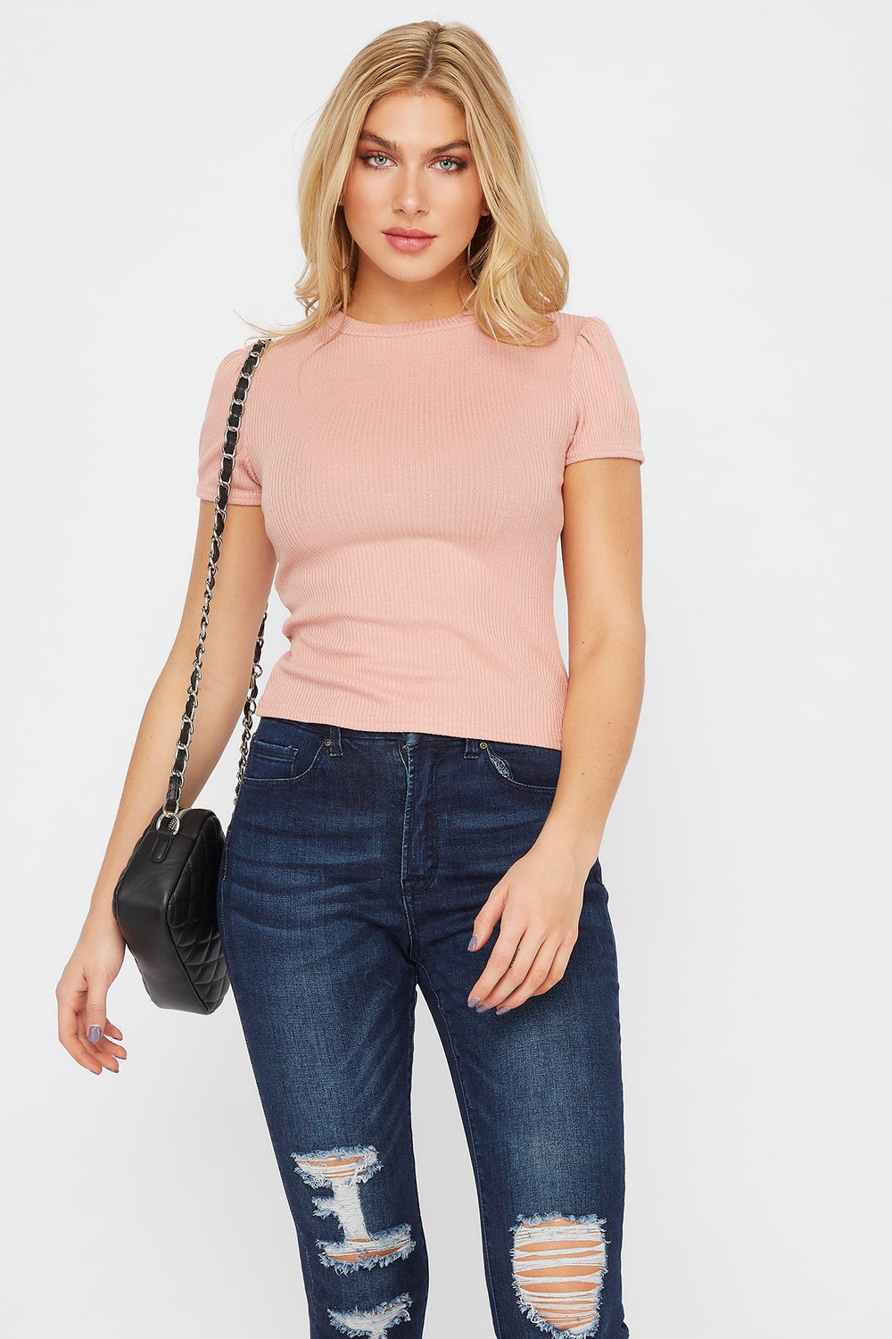 Ribbed Puff Sleeve T-Shirt Light Pink