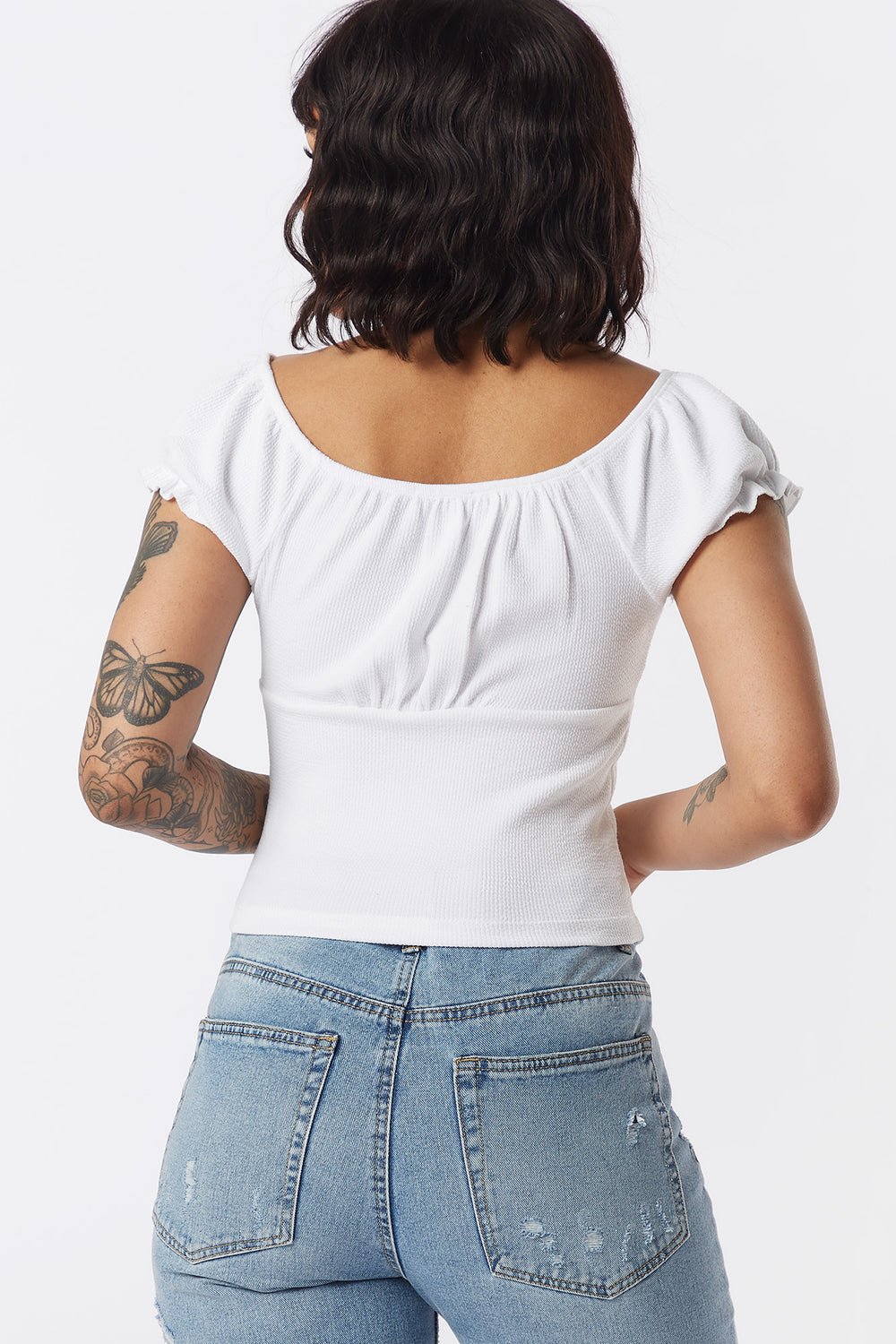 Ribbed Button-Front Puff Sleeve Top White