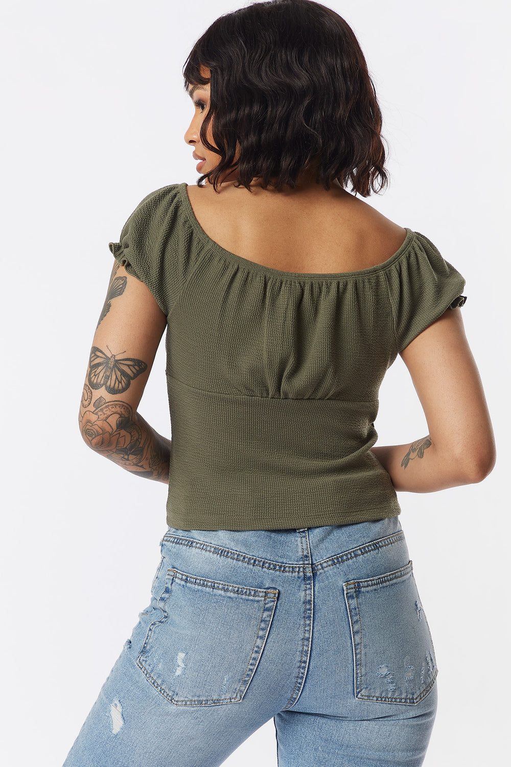 Ribbed Button-Front Puff Sleeve Top Dark Green