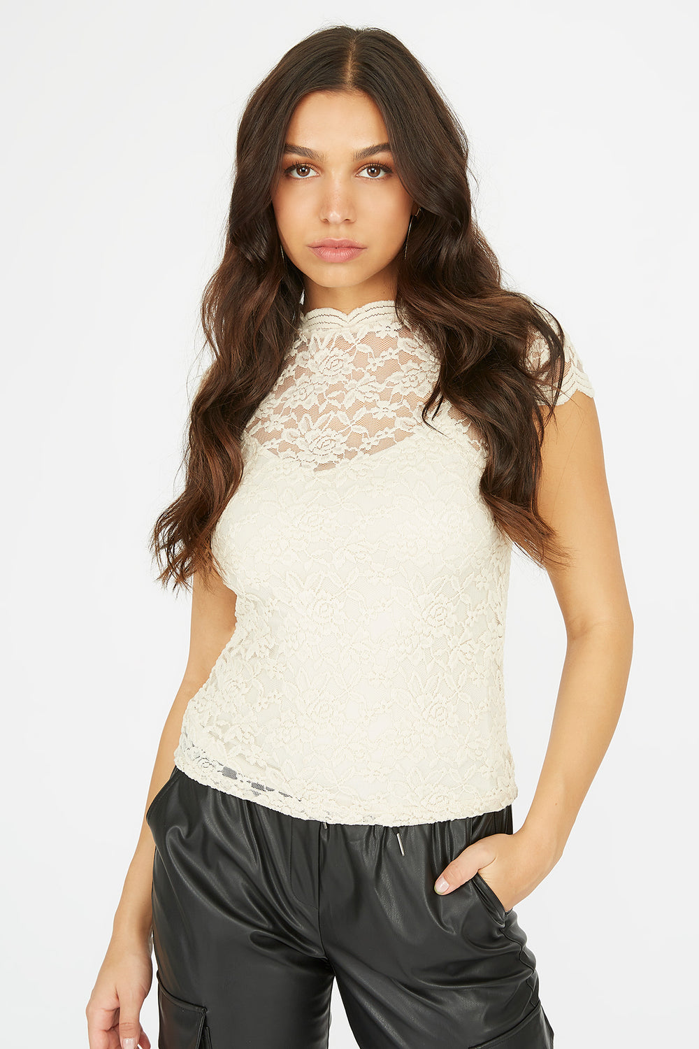 Lace Scallop Mock Neck Short Sleeve Top Natural