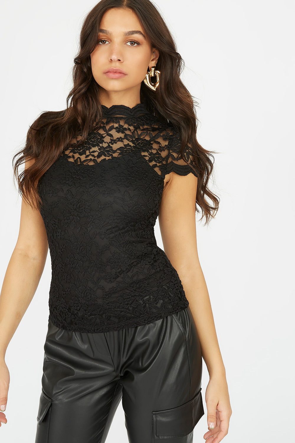 Lace Scallop Mock Neck Short Sleeve Top Black