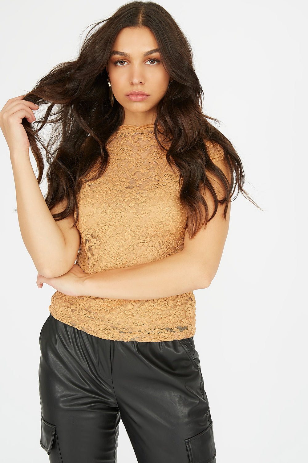 Lace Scallop Mock Neck Short Sleeve Top Light Brown