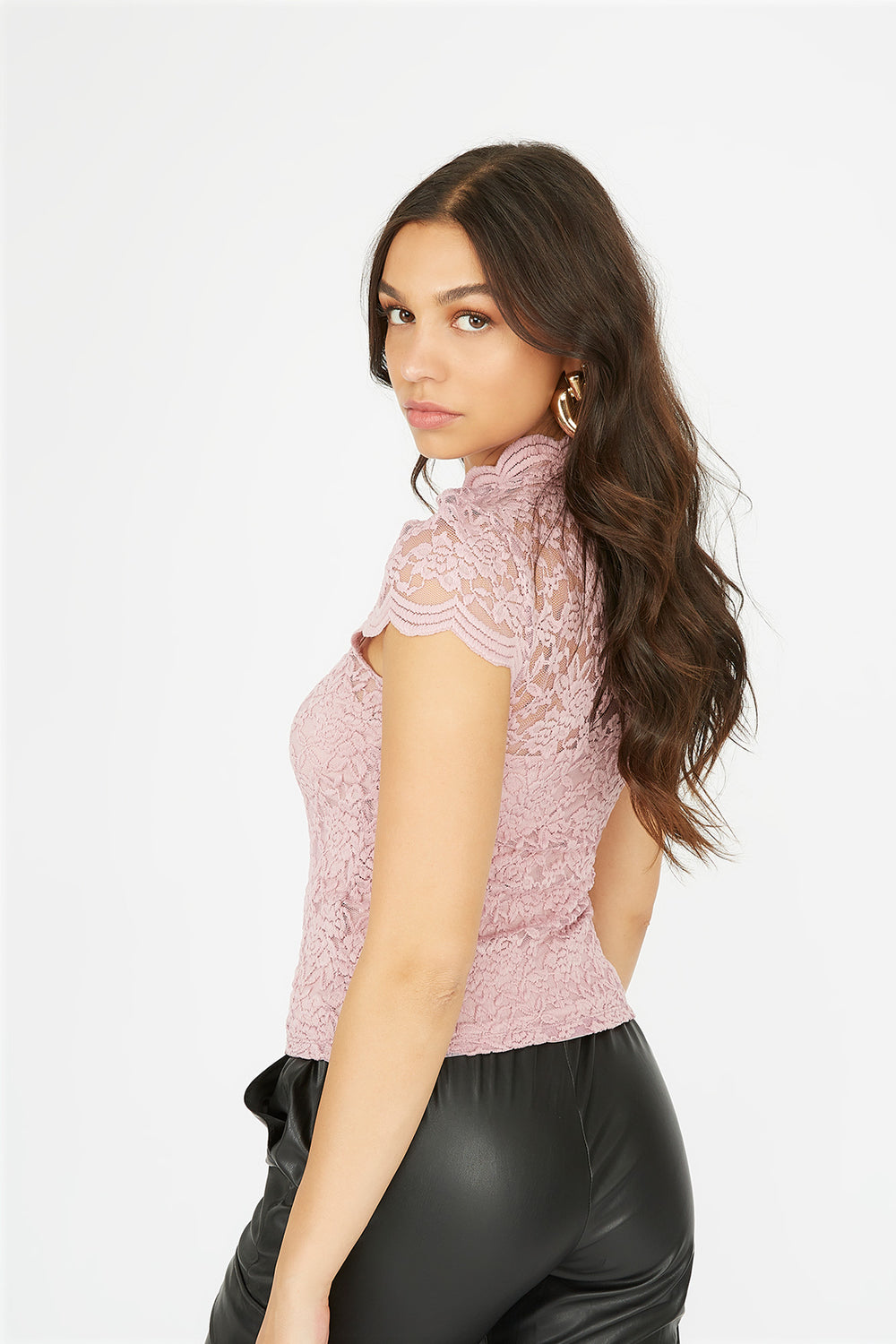 Lace Scallop Mock Neck Short Sleeve Top Dusty Rose