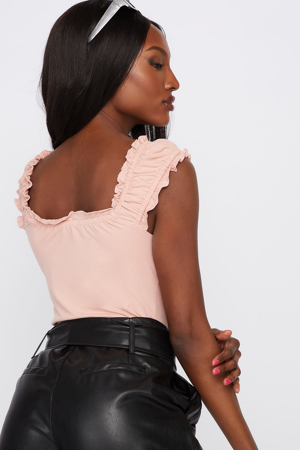 Frill Trim Self Tie Sleeveless Top Dusty Rose