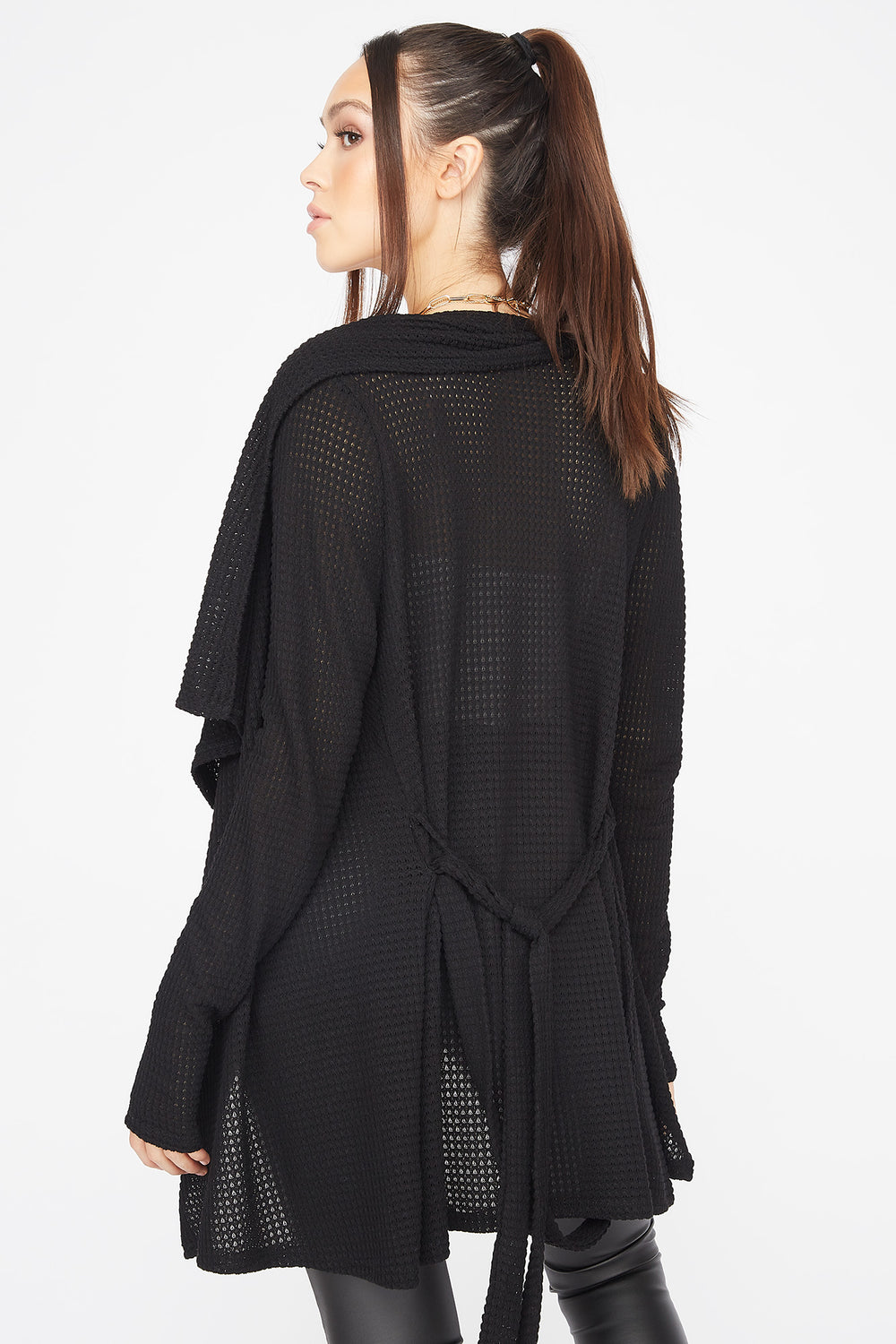 Knit Waterfall Belted Cardigan Black